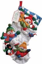 """Bucilla Snow Fun Felt Stocking Kit #86108 18"""" Christmas Snowman Penguin"""
