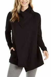 NEW Women's Ideology Long Sleeve Snap-Front Knit Wrap Black Size Large