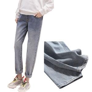 Boyfriend Wide Leg Pregnant Jeans Maternity Straight Pregnancy Capri Women Pants