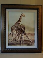 Andrew Bone Pit Stop Giraffes Signed & Framed Giclee On Canvas Limited Edition
