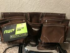 AWP New Suede Leather Construction Tool Belt Holster Pocket Pouch Bag Holder