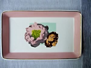 J.Crew Vanity Tray Porcelain 8.5x5 Peonies Muted Florals Peach Boarder RARE NICE