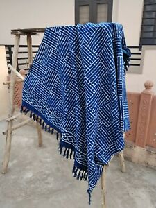 Indian Indigo Blue Mud Cloth Room Throw Blanket Boho Picnic Shawl Couch Blanket