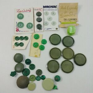 Button Lot Vintage Green Round Plastic Lansing Sears WirlPerl Buttons Mixed Lot