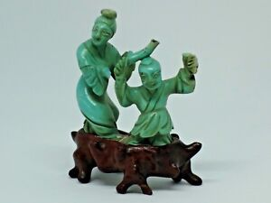 Antique chinese carved turquoise statue figures wood stand base Israel tax label