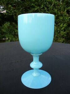 """ANTIQUE 1930 FRENCH PORTIEUX VALLERYSTHAL OPALINE BLUE GLASS 6.5"""" WATER GOBLET"""