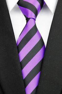Luxury Hand Woven 100% Pure Silk Neck Tie with Black & Purple Diagonal Stripes