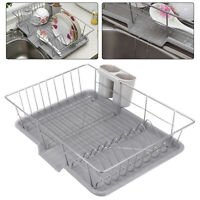 Large Dish Drainer Metal Wire Cutlery Holder Draining Plate Rack Kitchen Sink