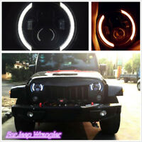 7 Inch Round LED Headlight Hi/Low Beam Halo Angle Eye For Jeep Wrangler JK LJ TJ
