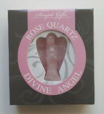 STATUETTE ANGE EN PIERRE QUARTZ ROSE - figurine dans boite cadeau