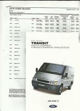 "FORD Transit ""Cost of Ownership"" opuscolo Nov. 2000 + per 2001 + prezzi maggio 2001"