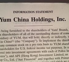 Yum Brands Shareholder Report 2016 Yum China Holdings Information Statement