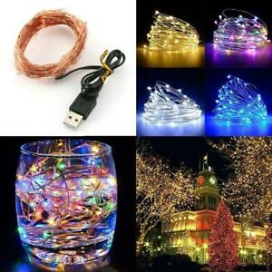 1M 5M 10M USB LED Micro Rice Wire Copper String Fairy Lights Home  Party