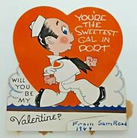 YOU'RE THE SWEETEST GAL IN PORT BE MY VALENTINE Card Vtg 40s Sailor Navy 1944 WW