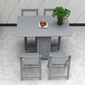 Dining Table w/ 4 Chairs Set Foldable Tables Drawers Storage Kitchen Restaurant