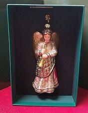 Reed & Barton European Glass Ornament Christmas Angel W/ Swarovski Crystal