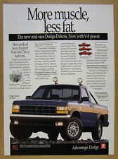 1991 Dodge Dakota 4x4 Sport V8 Pickup Truck photo vintage print Ad