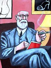 SIGMUND FREUD PRINT poster cigar psychology sex dreams nude books psychoanalysis