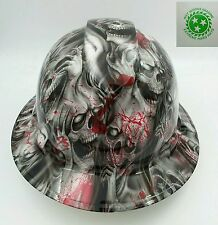 Hard Hat FULL BRIM custom hydro dipped , OSHA approved BLOOD SKULLS