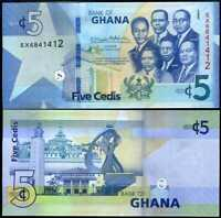GHANA 5 CEDIS 2019 P NEW UNC LOT 5 PCS
