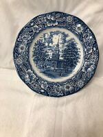"""VTG Staffordshire Ironstone Liberty Blue Independence Hall 10"""" Dinner Plate"""
