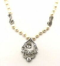 Sterling Silver Pear / Round CZ Cluster Beaded Pearl Swirl Collar Necklace 18""