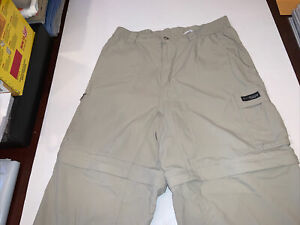 Columbia OMNI-DRY GRT Convertible Pants Men's M Khaki PACKABLE Nylon 32 Inseam