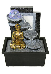 Buddha Indoor Tabletop Water Fountain Gold Buddha w/Color LED Lights Glass Ball