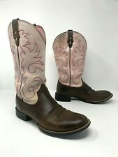 Ariat Womens 9B Stockman Cowboy Western Boots Leather Embroidered Pink 10007956