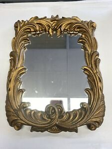 "Vintage Mirror Gold Floral Ornate Shape Mirror 15"" tall x 11"" wide"