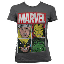 Officially Licensed Marvel Distressed Characters Women T-Shirt S-XXL Sizes