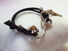 "NWT Uno de 50 Silver-plated Leather Arrow Bracelet 6"""