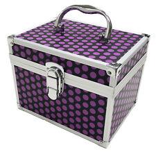 Purple Black Polka Dot Beauty Cosmetic Box Nail Make Up Vanity Salon Tech Case