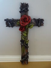 "10"" Faux Wooden Rustic Plank with Barbwire Blooming Red Love Roses Wall Cross"