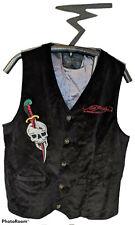 Rare ED HARDY By Christian Audigier Vest Black Velvet Skull Sword Dragon Mens XL
