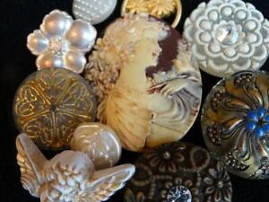 ELEGANT VINTAGE & NEW BUTTONS Czech Glass Cameo Flowers Metal Angel Rhinestone