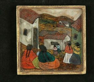 """Vintage Reverse Glass Painting Latin American """"Women in Village"""" Org Frame Décor"""