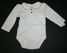 New Gymboree Girls Ivory Bodysuit Top 3-6m NWT Pan Collar Apple Buttons