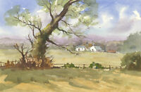 John A. Case - Contemporary Watercolour, Landscape Study with Houses and a Field