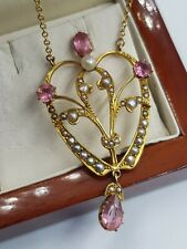 Victorian 15ct Gold Pink Tourmaline & Seed Pearl Pendant on Chain