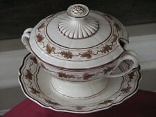 WEDGWOOD C.1770-90 SMALL TUREEN/UNDERPLATE WITH HAND PAINTED BORDER GRAPES/VINES