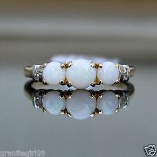 Genuine 3 Stone Opal & Diamond Journey Ring Anniversary 14k Gold Sz 7 UK Sz O