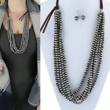"""Western Navajo Style Faux Pearl Pewter Bead Five Strand 32"""" Long Necklace Set"""