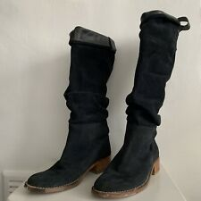 NAVY SUEDE KNEE HIGH BOOTS - SIZE 7/40