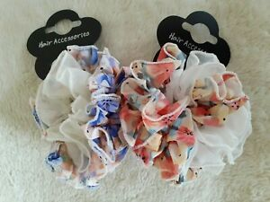Large 10cm Ruffle Scrunchie in a floral design - Choice of 7 Colours