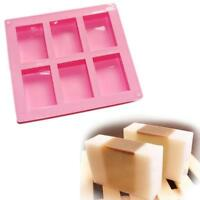 Rectangle 6-Cavity Soap Mold Cake ice Silicone Mould Tray Homemade Craft DIY W