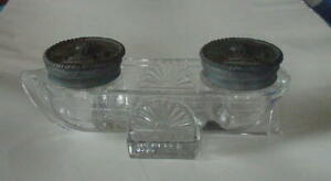 VINTAGE CRYSTAL DOUBLE INKWELL WITH CAST IRON FLIP TOP LIDS - VERY HEAVY