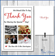 10 x FOLDED A6 PERSONALISED WEDDING THANK YOU CARDS   WITH ENVELOPES