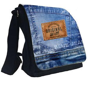Damen Taschen Umhängetasche Handtasche Baumwolle Jeans Schultertasche MR43_