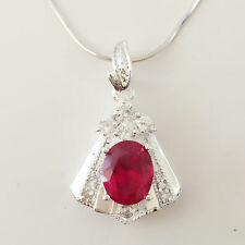New 925 Sterling Silver Ruby Red Trapezium Floral Charm Pendant Necklace PD1240
